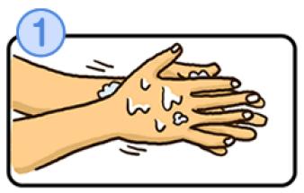手のひらを洗うイラスト