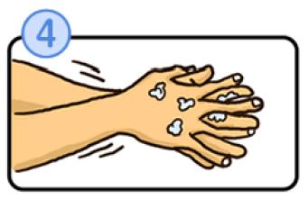 指の間を洗うイラスト