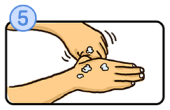 親指を洗うイラスト